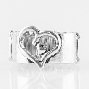paparazzi Jewelry - Cute As Cupid - Silver Stretchy Ring